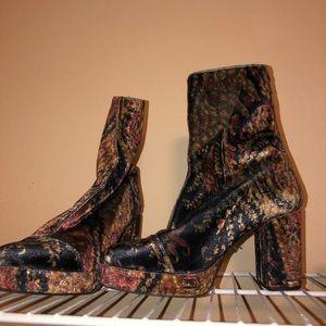 Jeffery Campbell floral velvet boots